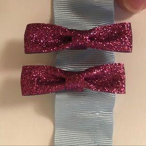 NWOT Forever 21 Glitter Bow Clips
